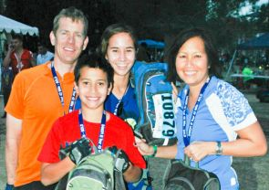 The Todsen family at El Tour de Tucson. From left: Jim, Joseph, Jessica and Ae. (Photo by MarathonFoto)