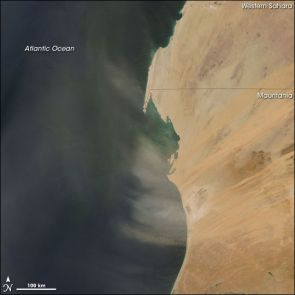 Dust Plumes off Western Africa - Plumes of Saharan dust blew off the west coast of Africa on November 9, 2007. The Moderate Resolution Imaging Spectroradiometer (MODIS) on NASA's Aqua satellite took this picture the same day. In this image, the dust plumes appear as translucent blurs blowing westward over the Atlantic, many of them curving in a clockwise direction. Aside from the dust, skies are clear over the region, giving a sharp view of western Africa's arid landscape.A day later, dust lingered over Cape Verde. (Photo: NASA image courtesy Jeff Schmaltz, MODIS Land Rapid Response Team, Goddard Space Flight Center)