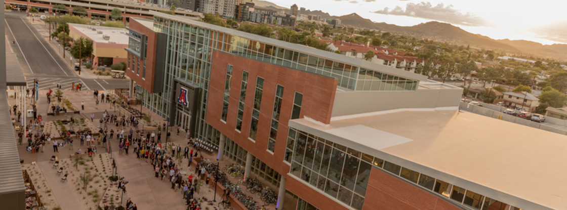 The University of Arizona Honors Village is a living-learning student community that includes a six-story residential tower, on-site honors classrooms and collaboration spaces and offices.
