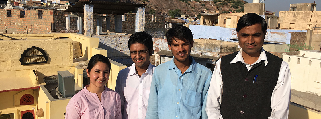 A journalist (far right) with the news organization Rajasthan Patrika is pictured with law students from the Utthan Legal Aid and Service Organization, a nongovernmental organization in Jodhpur, India. The organization promotes use of the RTIA among college students; students contribute pocket money to hold RTIA workshops and to do legal work related to the RTIA.