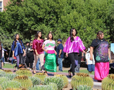 Members of the Ha:sañ Preparatory & Leadership School present clothing styles. (Photo: Chris Antone, a member of the Tohono O'odham Nation)