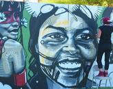 Trie (Santa Clara Pueblo) works on her large-scale piece. (Photo: Vanessa Marie)