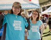 Jennifer Stewart and Melinda Englert of Tucson. Stewart is a board member of Make Way for Books.