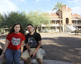 """Sept. 4, 5:08 p.m.: Shayla Nardi (left), a pre-business sophomore, says, """"With the renovations, it looks a lot better."""" She was on a visit with her husband, James Nardi, a chemical engineering junior. """"It is visually appealing and has a really crisp look."""""""