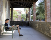 """Sept. 4, 5:10 p.m.: UA alumnus Joel Christens, who earned his degree in Middle East and American studies, says he visits Old Main to study. """"It's a good spot to relax."""""""