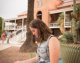 """Sept. 3, 3 p.m.: Hattie Rose Groskind, a UA freshman who has not yet declared a major, expects to graduate in 2018. """"I remember it being under renovation last year. This has been a relaxing place to get work done and I also wanted to see Old Main's improvements."""""""