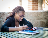"""Sept. 11, 11:20 a.m.: Judith Antonio is a computer science freshman. She says Old Main is """"a very calm place to study."""""""