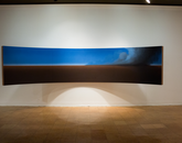 "Thomas Saffle's ""Plane of Existence,"" oil on curved wooden support."