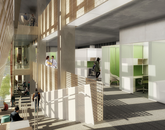 An artistic rendering of the interior of the Health Sciences Innovation Building. (Illustration courtesy of CO Architects)