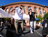Phoenix hip-hop duo Shining Soul perform. The performers are Bronze Candidate and MC Liaizon (Tohono O'odham). (Photo: Lexi Obara)