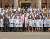 Students in the UA College of Medicine — Tucson Class of 2022 received their white coats on Friday, July 27. (Photo: UAHS Biocommunications)