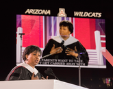 "Dr. Mae C. Jemison encouraged students to ""live deeply and look up."" (Photo: Chris Richards/UA Alumni Association)"