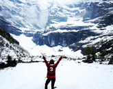 "Allison Arendt participated in the Danish Institute for Study Abroad program during the summer of 2015. Snapping ""Wildcats in Switzerland,"" Arendt had hiked through the glaciers in the small village of Gimmelwald. (Photo: Allison Arendt)"
