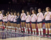 The Arizona volleyball team showed its support by wearing pink uniforms during Breast Cancer Awareness Month in October. (Photo courtesy of Arizona Athletics)