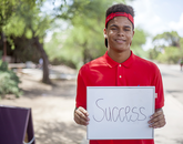 """Elijah Christaan Countryman, a freshman from Phoenix majoring in business management, said: """"Success is doing more than anybody would and putting in the extra mile for my professors and joining clubs."""""""