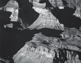 """Grand Canyon from the South Rim, Arizona"" was taken by Adams in about 1942. Adams was invited the previous year by Secretary of the Interior Harold Ickes to capture large-scale mural prints."