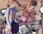 "In her photo ""Blessing in Varanasi,"" Cassidy McGinnis, a senior studying public health, receives blessings from a spiritual leader before departing to her next Semester at Sea destination. Her photo earned the prize in the Learn Everywhere category."