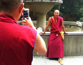 "'The Modern Day Monk"" by Kathryn Chung shows two monks taking selfies near a temple in Hangzhou, China. Chung participated in the Arizona in Shanghai program during the summer of 2015. (Photo: Kathryn Chung)"
