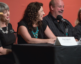 Monday's news conference at UAMA included (from left) interim museum director Meg Hagyard, curator Olivia Miller, New Mexico antiques dealer David Van Auker and conservator Nancy Odegaard. (Photo: John de Dios/UANews)
