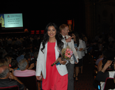First-year student Angelica Almader leads her class after the White Coat ceremony.