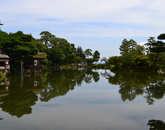 """Daniel Badillo, a senior studying architecture and Spanish, illustrates serenity in his photo """"Reflection   a Japanese Garden at Kanazawa Palace."""" Taken during the CAPLA Abroad program in Japan, Badillo's photo was awarded Dean's Choice by Alain-Philippe Durand, dean of the College of Humanities."""