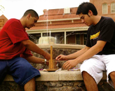 Engineering freshmen build a catapault in front of Old Main for a class during the 2004-05 academic year.