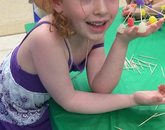 Campers build gumdrop domes to learn about the mechanism of building structures that can support weight. (Photo courtesy of Flandrau Science Center and Planetarium)