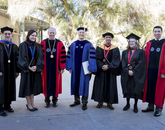 From left: Daniel McDonald, Melissa Fitch, President Robert C. Robbins, Provost Andrew Comrie, Hoshin Gupta, Alison Hawthorne Deming and student regent Vianney Careaga.