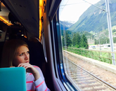 "Jordan Hagen participated in the Mediterranean Diet and Health program during the summer of 2015. ""Never-Ending Classroom"" was taken on a train between Milan, Italy, and Zurich, Switzerland, somewhere in the mountains."