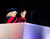 President Ann Weaver Hart applauds the graduates. Photo by Jacob Chinn/UA Alumni Association