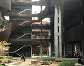 """""""The ENR2 courtyard is my favorite place to sit and enjoy a cup of coffee. I love the modern architecture, the vines growing down the sides of the building, and especially the buzz of students enjoying this thoughtfully planned space."""" – Shannon Heuberger, special assistant, Office of Research, Discovery & Innovation"""