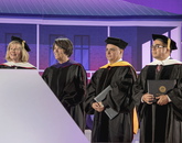"""Joan M. Sweeney, Sarah """"Sally"""" Simmons, Sergio M. Alcocer and David Adame received UA honorary degrees. Maj. Gen. Charles F. Bolden Jr. (not pictured) also received an honorary degree."""