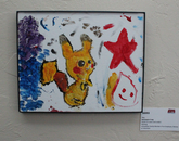 A painting of the Pokemon Pikachu.