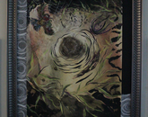 """A painting titled """"Nest,"""" with birds and a nest."""