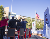 """The installation will help all of us to remember the sacrifice of the Arizona's crew, and our hope is that it inspires gratitude and reminds us of the sacrifice others have made in defense of our freedoms,"" UA President Ann Weaver Hart said. (Photo: Lilly Berkley/UANews)"