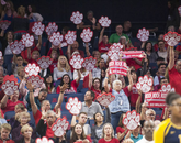 """Arizona fans chant """"roof, roof, roof"""" in support of the volleyball team's match against California. (Photo courtesy of Arizona Athletics)"""