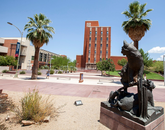 """The Wildcat Family,"" featuring two adult wildcats and two cubs, was dedicated in 2004 to past UA President Peter Likins and his wife, Pat. The sculpture is at the Alumni Plaza. (Photo: John de Dios/UANews)"