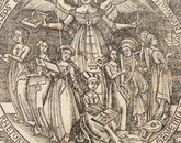 "The cover of Gregor Reisch's ""Margarita philosophica,"" which was published in 1504. A German Carthusian, Reisch pursued efforts to amass encyclopedic works aimed at gathering together knowledge for students."