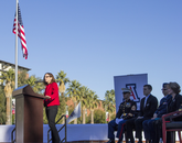 """You think of those who served and perished, and the 335 who survived — it was a typical day, if you think about it … and they didn't know the world was about to change,"" U.S. Rep. Martha McSally, R-Ariz., said during the dedication, held also to commemorate the 75th anniversary of the surprise air strike by Japan. (Photo: Lilly Berkley/UANews)"