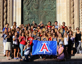 Julianne Stanford, who graduated in May with degrees in journalism and political science, takes a photo of Wildcats on historic steps in Orvieto, Italy.