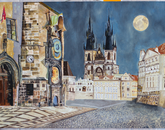 """Prague at Night"" by Skye Challener, research technician in the Department of Psychiatry"