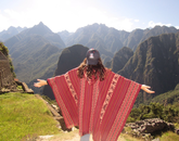Paulina Cabrera, a senior studying Spanish and public health, shows her Wildcat pride at Machu Picchu during a getaway from the Accelerated Public Health in Cusco program.