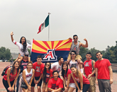 Tiffany Nguyen, a student in the College of Pharmacy, snaps a photo of Wildcat spirit in Mexico City. Several study abroad programs make their way through Mexico City, including those that enable students to improve their Spanish-language skills and learn about bilingual education, school psychology, health and other topics.
