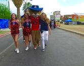 Wilbur Wildcat strolled the grounds with UA cheerleaders.