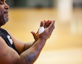 Derrick McMillon prepares to play basketball.