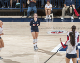 Senior libero Ronni Lewis celebrates. (Photo courtesy of Arizona Athletics)