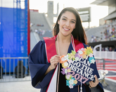 Yadira Borboa, who is from Nogales, earned a Bachelor of Science in Care, Health and Society. The message on her cap speaks to her desire to go further.