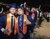 Friends Christian Oropeza, who graduated in industrial engineering, and Raul Moraga, who graduated in civil engineering, will begin their careers this summer. Oropeza will work for Raytheon and Moraga for M3 Engineering, both based in Tucson. (Photo: John de Dios/UANews)