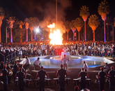 No one knows exactly when the UA bonfire and pep rally began, but the exhilarating lead-in to Homecoming festivities may have started as early as 1920, predating the parade and other traditions. Back then, the University's original cactus garden occupied the area in front of Old Main, where the bonfire is held today.