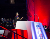 Girl Scouts CEO Anna Maria Chavez delivers the keynote address. Photo by Jacob Chinn/UA Alumni Association